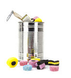 Liquorice allsorts in a tin isolated on white background Royalty Free Stock Photo