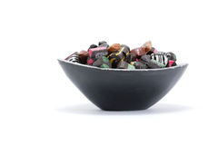 Liquorice candy in a bowl Stock Images