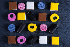 Liquorice candy vibrant background, from above Stock Image