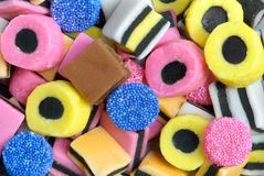 Liquorice Sweets. Plan view of colourful liquorice sweets Royalty Free Stock Photos
