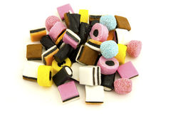 Liquorice sweets against white Stock Images