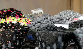 Liquorice sweets. A detailed view of some liquorice sweets at the market, landscape cut stock images