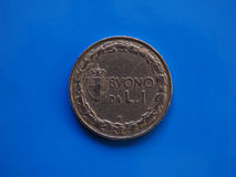 1 lira coin, Kingdom of Italy over blue Stock Photography