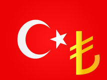 Lira Currency Sign over the Turkish Flag Stock Images