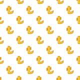 Lira currency symbol pattern, cartoon style. Lira currency symbol pattern. Cartoon illustration of lira currency symbol vector pattern for web Stock Photo