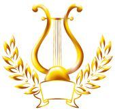 lira obramiający złocisty laurowy wianek Zdjęcia Royalty Free