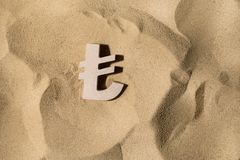 Lira Sign On the Sand royalty free stock image