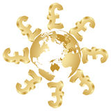 Lira symbol around the globe. Symbol of lira around the globe Stock Photography