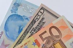 Lira turca, dollaro di U.S.A. e banconote dell'euro Fotografie Stock