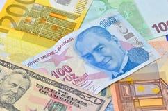 Lira turca, dollaro di U.S.A. e banconote dell'euro Fotografia Stock Libera da Diritti