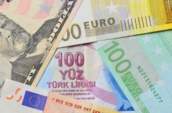 Lira turca, dollaro di U.S.A. e banconote dell'euro Fotografie Stock Libere da Diritti