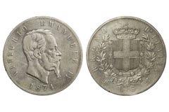 5 lira Vittorio Emanuele 1874 II Arkivfoto