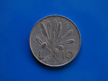10 liras coin, Italy over blue Stock Photography