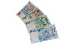 Liras da série italiana velha do último da moeda das cédulas Imagens de Stock