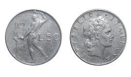 50 liras de moeda Italia Imagem de Stock Royalty Free