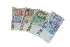 Liras de vieja moneda italiana de los billetes de banco Imagen de archivo