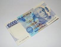 10000 liras de vieja moneda italiana del billete de banco Foto de archivo libre de regalías