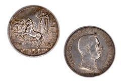 2 liras de Vittorio Emanuele III Fotografía de archivo libre de regalías