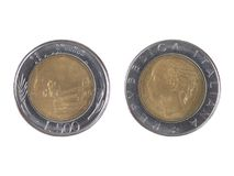 Liras italianas de moneda Foto de archivo libre de regalías