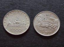 Liras italianas de monedas de plata Imágenes de archivo libres de regalías