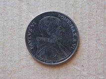 50 liras mynt från Vaticanen Fotografering för Bildbyråer