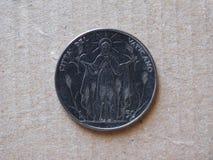 50 liras mynt från Vaticanen Royaltyfri Fotografi