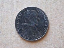 50 Lire di moneta dal Vaticano Fotografia Stock Libera da Diritti