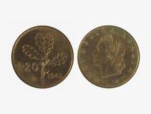 20 Lire italiane di moneta Fotografia Stock