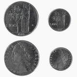 100 Lire italiane di moneta Fotografie Stock Libere da Diritti