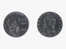 Lire italiane di moneta Fotografie Stock Libere da Diritti