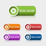 Lire la suite rectangulaire coloré de boutons de Web Photo libre de droits