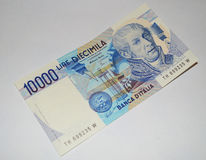 10000 lire old italian banknote currency Royalty Free Stock Photo