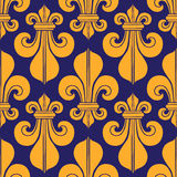 Lirio real de la heráldica inconsútil azul y amarilla del modelo Fotografía de archivo libre de regalías