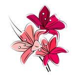 Lirio rojo estilizado Imagen de archivo
