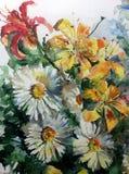 Lirio rosado amarillo verde claro delicado de la manzanilla de la flor del extracto del fondo del arte de la acuarela solo libre illustration