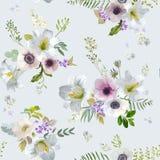 Lirio y Anemone Flowers Background - modelo inconsútil del vintage del verano Imagen de archivo libre de regalías