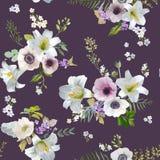 Lirio y Anemone Flowers Background - modelo inconsútil del vintage del verano Foto de archivo