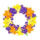Lirio y azul amarillos, anaranjados Iris Flower Wreath en el fondo blanco Ilustración del vector Imágenes de archivo libres de regalías