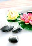Lirio y pistas con las piedras de la terapia Imagen de archivo libre de regalías