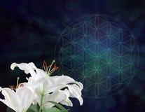 Lirios blancos y la flor del fondo del símbolo de la vida Fotografía de archivo libre de regalías