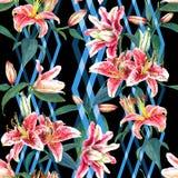 Lirios inconsútiles del estampado de flores Fotografía de archivo libre de regalías