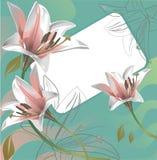Lirios y tarjeta de felicitación hermosos Fotos de archivo