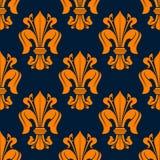 Lis bezszwowy wzór z pomarańczowymi lelujami Fotografia Royalty Free