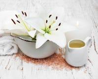 Lis blanc, serviettes et sel de mer Photos stock
