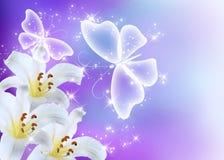 Lis fleur et papillons Images stock