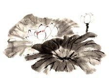 Lis peint à la main décoratif magnifique distingué traditionnel chinois de l'encre-eau Images stock