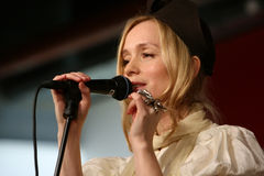 Lisa Ekdahl presteert in Parijs Stock Foto's