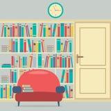Lisant Seat en Front Of une bibliothèque énorme illustration stock