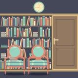 Lisant Seat en Front Of une bibliothèque énorme illustration de vecteur