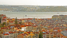 Lisboa. View of Lisbon and Almada cities separated by the Tagus river Stock Image